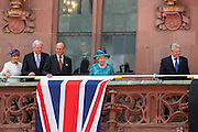 Deutschland | Frankfurt | 25.06.2015 : Queen Elisabeth II is visiting Frankfurt during her trip to Germany<br /> <br /> here: Queen Elisabeth II and Prince Philip on the balcony of Frankfurt's twon hall &quot;R&ouml;mer&quot; with the Prime Minister of the State of Hesse Volker Bouffier, his wife and the German Federal President (Bundespr&auml;sident) Joachim Gauck (right)<br /> <br /> 20150625<br /> Sascha Rheker