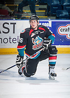 KELOWNA, CANADA - SEPTEMBER 9: Cal Foote #25 of Kelowna Rockets stretches on the ice during warm up against the Kamloops Blazers on September 9, 2016 at Prospera Place in Kelowna, British Columbia, Canada.  (Photo by Marissa Baecker/Shoot the Breeze)  *** Local Caption *** Cal Foote;