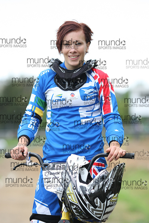 (Canberra, Australia---03 March 2012) Caroline Buchanan of the ACT competing in stage 5 of the BMX Australia Probikx Elite Women series at the Melba BMX Track in Canberra, Australia. Photograph 2012 Copyright Sean Burges / Mundo Sport Images. For reproduction rights and information in Australia, contact seanburges@yahoo.com. For information elsewhere contact info@mundosportimages.com.