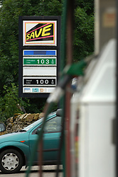 Petrol hits £1 per litre - 104 pence per litre at a petrol station in Yorkshire September 2005 UK