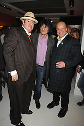 Left to right, PHIL JUPITUS, PAUL KARSLAKE and RONNIE WOOD at an exhibition of artist Paul Karslake's work entitled Ideas & Idols, held at Scream, 34 Bruton Street, London W1 on 21st February 2008.<br />