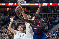 Real Madrid Luka Doncic and Felipe Reyes and FC Barcelona Lassa Rakim Sanders during Turkish Airlines Euroleague match between Real Madrid and FC Barcelona Lassa at Wizink Center in Madrid, Spain. December 14, 2017. (ALTERPHOTOS/Borja B.Hojas)