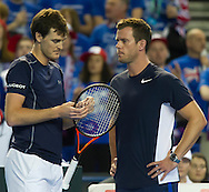 Jamie Murray pictured with Leon Smith during the round three singles match on second day of the Davis Cup by BNP Paribas match between Great Britain and Japan at the National Indoor Arena, Birmingham, England.<br /> Picture by Anthony Stanley/Focus Images Ltd 07833 396363<br /> 05/03/2016