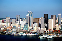 Seattle Skyline from boat, <br /> Fisherman's wharf and ferry terminals.