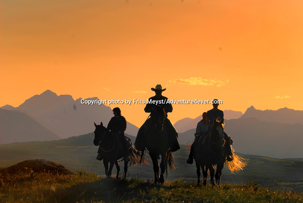 Mountain View, Alberta, Canada, July 2008. Rancher Dan Nelson takes us on a horse back trail ride in the hills connecting the Albertan prairie with the mountains of Waterton National Park. Photo by Frits Meyst/Adventure4ever.com..***This image is Digitally manipulated to fit a magazine cover***