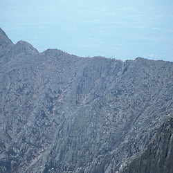 Mt. Katahdin, Baxter SP, ME. Appalachian Trail. The 'Knife's Edge' from the summit of  Katahdin.