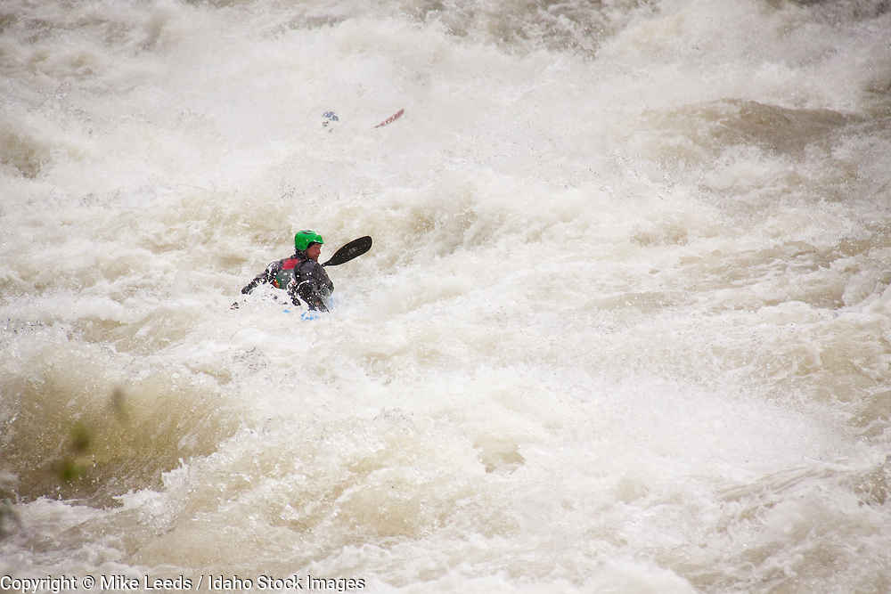 Mike McKee getting turned around in Steepness rapid on the north fork payette river in idaho during record high water