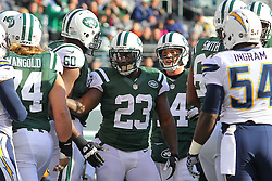Dec 23, 2012; East Rutherford, NJ, USA; New York Jets running back Shonn Greene (23) celebrates his touchdown run during the first half of their game against the San Diego Chargers at MetLIfe Stadium.