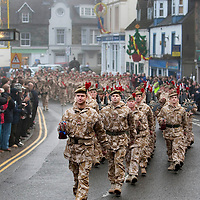 The Black Watch Homecoming Parade, Aberfeldy....10.12.09<br /> Lt Col Stephen Cartwright CO of the Black Watch leads his soldiers on parade through a foggy Aberfeldy on their return from Afghanistan.......Aberfeldy is where the 'Companies' of men were mustered in 1667, the dark tartans that the men wore to distinguish them from the 'Red Soldiers' led them to becoming known as 'Freiceadan Dubh' or 'The Black Watch'<br /> Picture by Graeme Hart.<br /> Copyright Perthshire Picture Agency<br /> Tel: 01738 623350  Mobile: 07990 594431