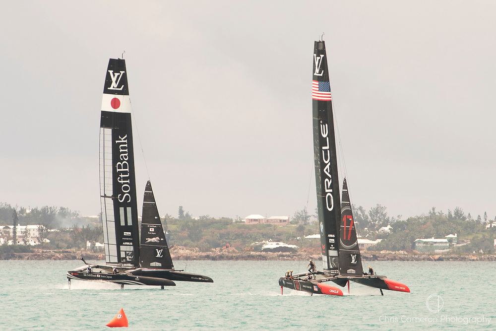 The Great Sound, Bermuda. 12th June 2017.  Oracle Team USA practice with Soft Bank Team Japan In preparation to going up against the winner of the Louis Vuitton America's Cup Challenger playoff final.