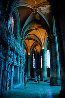 Our Lady of Chartres Cathedral, Chartres, France. The vaulted halls around the nave and the monumental choir screen (jube) which separates the choir from the nave.
