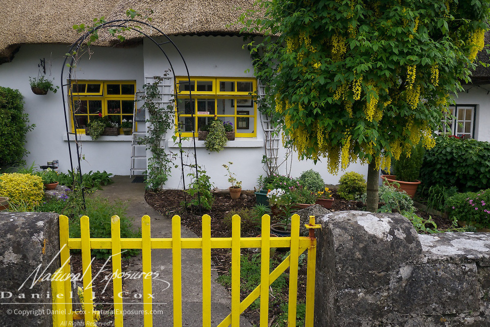 A house with colorful yellow accents in small village of Adare, Ireland