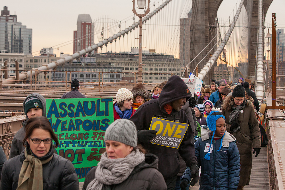 Marchers cross the Brooklyn Bridge on their way to City Hall.