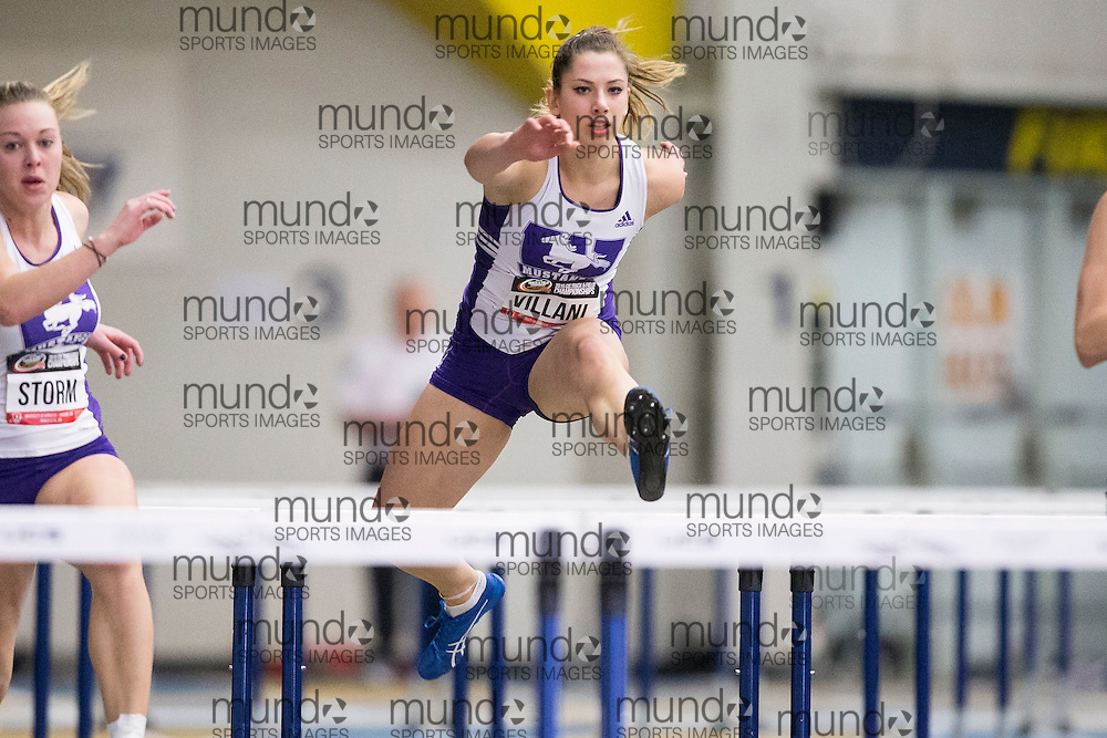 Windsor, Ontario ---2015-03-12--- Sarah Villani of Western University  competes in the pentathlon hurdles  at the 2015 CIS Track and Field Championships in Windsor, Ontario, March 12, 2015.<br /> GEOFF ROBINS/ Mundo Sport Images