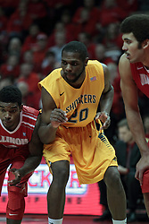 22 January 2014:  Daishon Knight, Kadeem Coleby & Reggie Lynch during an NCAA Missouri Valley Conference mens basketball game between the Shockers of Wichita Stat and the Illinois State Redbirds  in Redbird Arena, Normal IL.