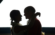 Silhouette, Bride and Groom Kissing