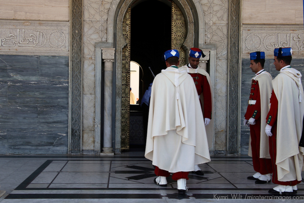 Africa, Morocco, Rabat. Changing Guards at Mausoleum of Mohammed V.