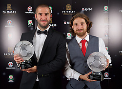 CARDIFF, WALES - Tuesday, November 8, 2016: Dafabet Welsh Premier League Clubman of the Year Award winner The New Saints' Phil Baker and FAW Men's Fans Favourite Award winner Joe Allen with their trophies during the FAW Awards Dinner at the Vale Resort. (Pic by David Rawcliffe/Propaganda)