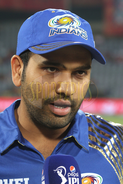 Mumbai Indians captain Rohit Sharma during match 21 of the Pepsi IPL 2015 (Indian Premier League) between The Delhi Daredevils and The Mumbai Indians held at the Ferozeshah Kotla stadium in Delhi, India on the 23rd April 2015.<br /> <br /> Photo by:  Shaun Roy / SPORTZPICS / IPL