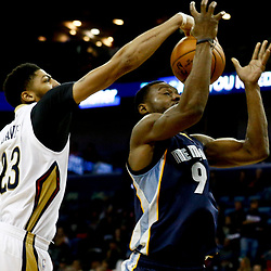 Dec 5, 2016; New Orleans, LA, USA; New Orleans Pelicans forward Anthony Davis (23) blocks a shot by Memphis Grizzlies guard Tony Allen (9) during the second quarter of a game at the Smoothie King Center. Mandatory Credit: Derick E. Hingle-USA TODAY Sports