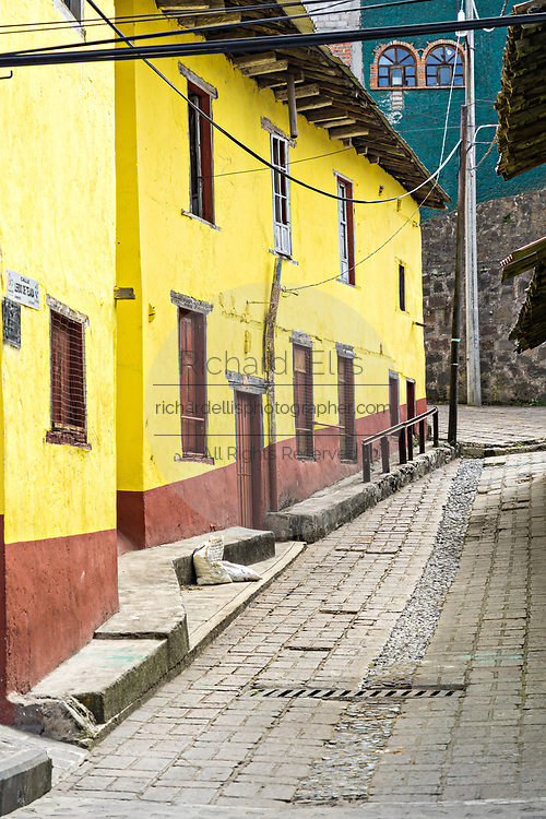 A bright yellow building and cobblestone alley in Angangueo, Michoacan, Mexico. Angangueo is a tiny, remote mountain town and the entry point to the Sierra Chincua Monarch Butterfly Sanctuary.