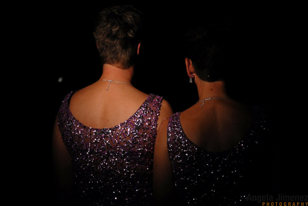 Simone Taverne, right, and Lisette van Bruggen, both of Holland, wait for the announcements of the results of the senior women's standard division of the same-sex ballroom dancing competition during the 2007 Eurogames at the Waagnatie hangar in Antwerp, Belgium on July 13, 2007. ..Over 3,000 LGBT athletes competed in 11 sports, including same-sex dance, during the 11th annual European gay sporting event. Same-sex ballroom is a growing sports that has been happening in Europe for over two decades.