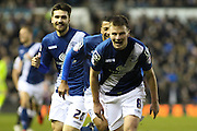 Birmingham City FC midfielder Stephen Gleeson celebrates scoring Birmingham's second goal during the Sky Bet Championship match between Derby County and Birmingham City at the iPro Stadium, Derby, England on 16 January 2016. Photo by Aaron Lupton.