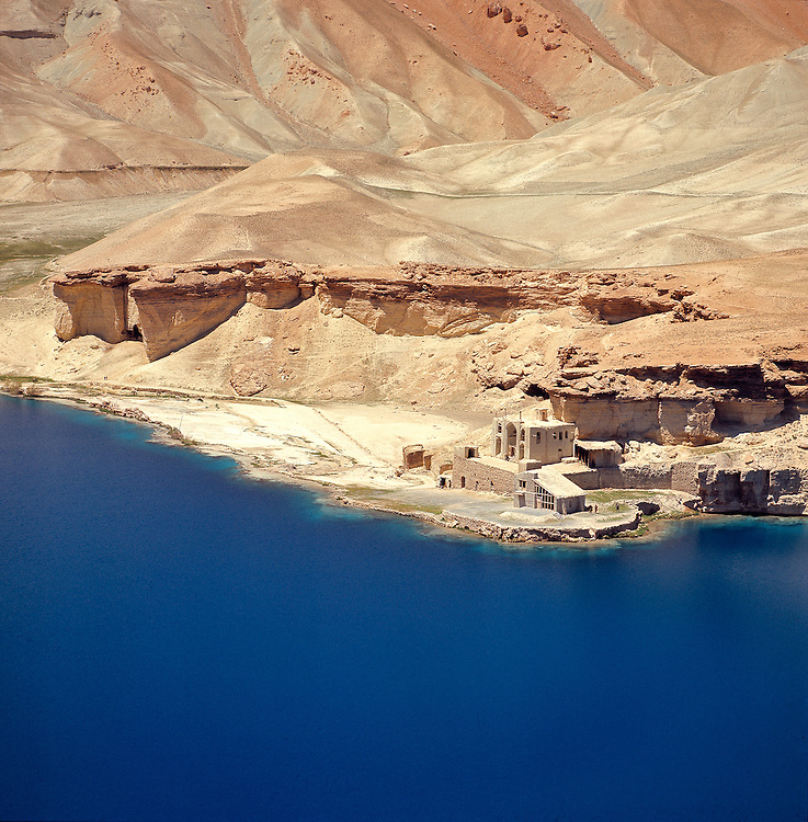 A small village lies at the edge of the Band-i-Amir Lakes near the Bamian Valley in Afghanistan.