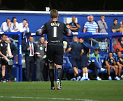 Rob Green (QPR Goalkeeper) getting sent off during the Sky Bet Championship match between Queens Park Rangers and Nottingham Forest at the Loftus Road Stadium, London, England on 12 September 2015. Photo by Matthew Redman.