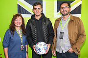 Man of the match Forest Green Rovers Taylor Allen(12) with match ball sponsor Elixinol during the EFL Sky Bet League 2 match between Forest Green Rovers and Newport County at the New Lawn, Forest Green, United Kingdom on 31 August 2019.