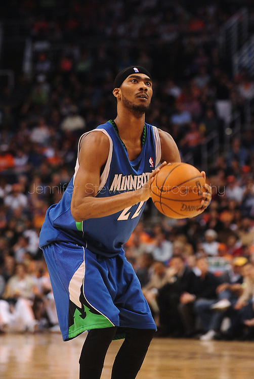 Mar. 16 2010; Phoenix, AZ, USA; Minnesota Timberwolves guard Corey Brewer (22) shoots a free throw in the first half at the US Airways Center.  The Suns defeat the Timberwolves 152-114. Mandatory Credit: Jennifer Stewart-US PRESSWIRE.