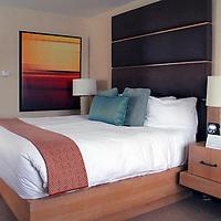 USA, Colorado, Beaver Creek. Room at The Osprey, a luxury Vail Resorts property at Beaver Creek.