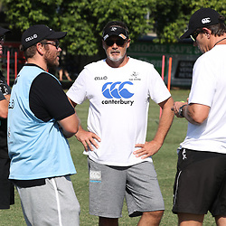 Sean Everitt (Assistant Coach) of the Cell C Sharks with Jaco Pienaar (Assistant Coach) of the Cell C Sharks Robert du Preez (Head Coach) of the Cell C Sharks and Ryan Strudwick (Assistant Coach) of the Cell C Sharks during The Cell C Sharks  training session at Growthpoint Kings Park in Durban, South Africa. 27 March 2017(Photo by Steve Haag)<br /> <br /> images for social media must have consent from Steve Haag