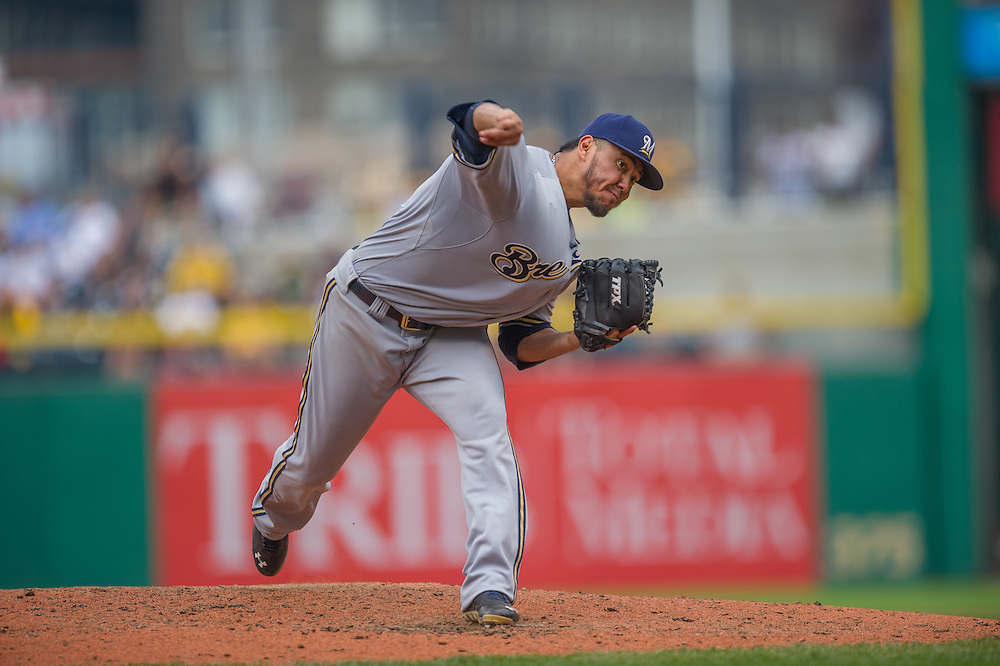 PITTSBURGH, PA - JUNE 08: Yovani Gallardo #49 of the Milwaukee Brewers pitches during the game against the Pittsburgh Pirates at PNC Park on June 8, 2014 in Pittsburgh, Pennsylvania. (Photo by Rob Tringali) *** Local Caption *** Yovani Gallardo