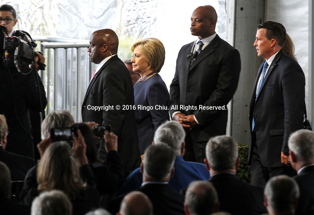 Hillary Clinton arrival during a funeral service for the former first lady Nancy Reagan at the Ronald Reagan Presidential Library and Museum in Simi Valley, California on March 11, 2016. Reagan died of congestive heart failure in her sleep at her Bel Air home Sunday at age 94. A bout 1,000 guests from the world of politics attended the final farewell to Nancy Reagan as the former first lady is eulogized and laid to rest next to her husband at his presidential library.<br />    (Photo by Ringo Chiu/PHOTOFORMULA.com)<br /> <br /> Usage Notes: This content is intended for editorial use only. For other uses, additional clearances may be required.