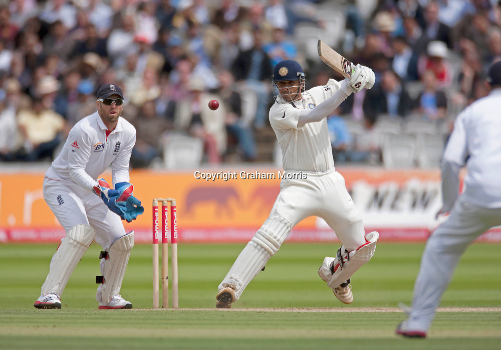 Rahul Dravid bats during the first npower Test Match between England and India at Lord's Cricket Ground, London.  Photo: Graham Morris (Tel: +44(0)20 8969 4192 Email: sales@cricketpix.com) 23/07/11