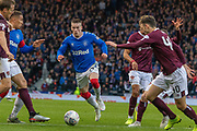 Ryan Kent of Rangers FC goes for the gap during the Betfred Scottish League Cup semi-final match between Rangers and Heart of Midlothian at Hampden Park, Glasgow, United Kingdom on 3 November 2019.