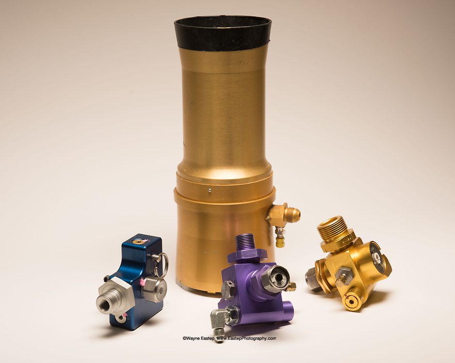 Pneumatic valves for inflations system used on commercial aircraft escape ramps.