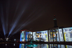 London, UK. 10th January, 2019. Welcome to the Forest by Greenaway & Greenaway in collaboration with Talvin Singh and Addictive TV - Waltham Forest, London Borough of Culture 2019. Nest by Marshmallow Laser Feast in collaboration with Erland Cooper appears behind to the left. Welcome to the Forest takes place between 11-13 January in Waltham Forest as part of the Mayor of London's first-ever London Borough of Culture.