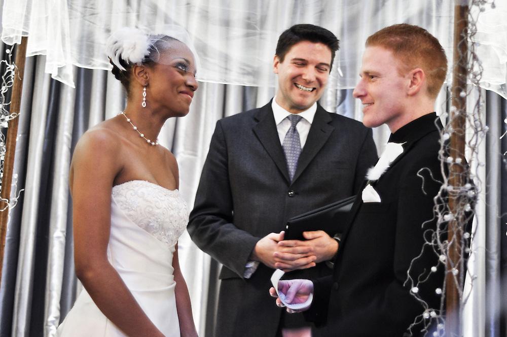 Noam makes everyone laugh, including Uzoezi, while delivering his vows, Merchant's Exchange, San Francisco