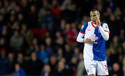 BLACKBURN, ENGLAND - Monday, April 2, 2012: Blackburn Rovers' Marcus Olsson looks dejected after missing a big chance before half-time during the Premiership match against Manchester United at Ewood Park. (Pic by Vegard Grott/Propaganda)