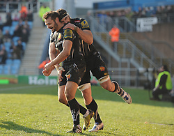 Try scorer Phil Dollman of Exeter Chiefs celebrates with Don Armand of Exeter Chiefs.   - Mandatory byline: Alex Davidson/JMP - 12/03/2016 - RUGBY - Sandy Park -Exeter Chiefs,England - Exeter Chiefs v Newcastle Falcons - Aviva Premiership