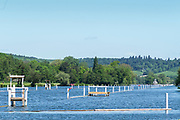 Henley on Thames. United Kingdom.   View down the course towards Temple Island, [Thames Valley] and the folly  Thursday  17/05/2018<br /> <br /> [Mandatory Credit: Peter SPURRIER:Intersport Images]<br /> <br /> LEICA CAMERA AG  LEICA Q (Typ 116)  f5  1/1000sec  35mm  42.5MB