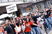 The streets of Ljubljana and 51 other cities across Europe turned into ballrooms for high school students, who celebrated their graduation by trying to set a new Guinness World Record at the Graduation Quadrille Dance Parade. Ljubljana, Slovenia. 21/05/2010.