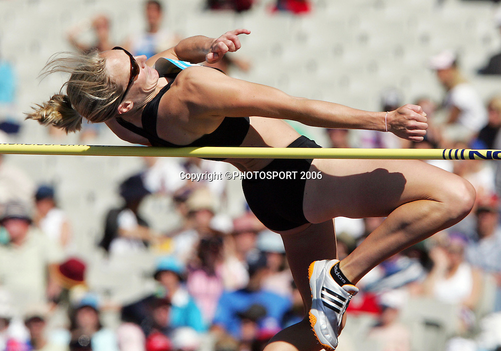 New Zealand's Rebecca Wardell (NZL) competes in the high jump as part of the Womens Heptathalon on day 6 of the XVIII Commonwealth Games at the Melbourne Cricket Ground, Melbourne, Australia, Monday, March 20 2006. Photo: Michael Bradley/PHOTOSPORT<br /> <br /> <br /> 210306 athletics athlete field