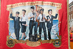 Banner representing associated society of locomotive engineers and firemen,