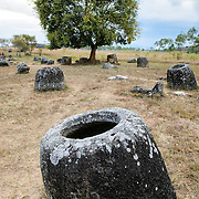 Hollow stone jars at Site 1 of the Plain of Jars in north-central Laos. Much remains unknown about the age and purpose of the thousands of stone jars clustered in the region. Most accounts date them to at least a couple of thousand years ago and theories have been put forward that they were used in burial rituals.