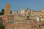 Everything old is new again. View of Roman rooftops and cross section of ancient buildings under reconstruction, Rome, Italy.