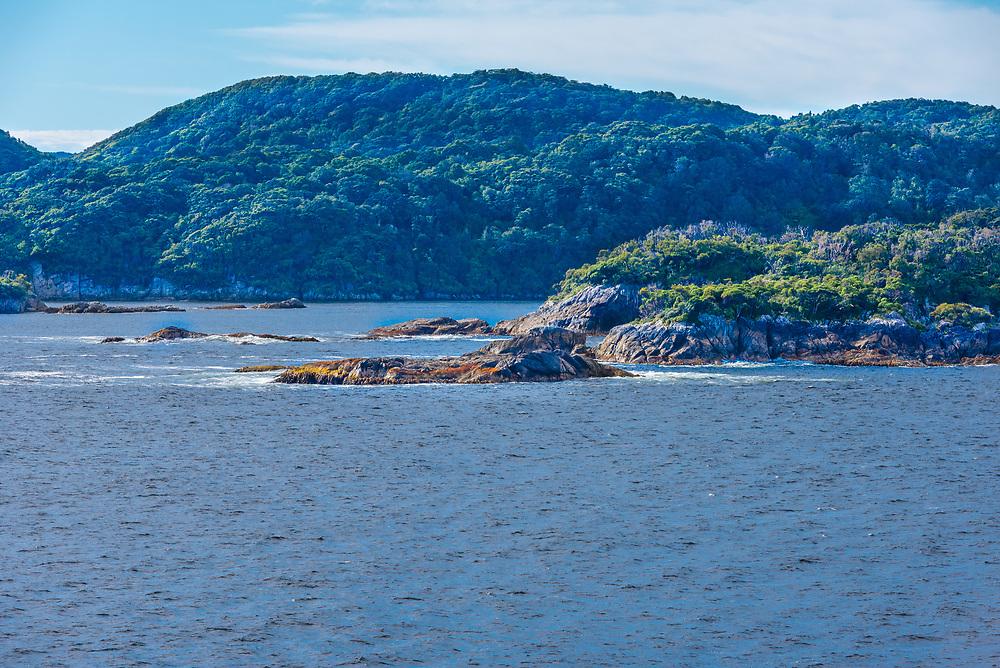 The coastline of Dusky Sound in New Zealand