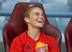 ASTANA, KAZAKHSTAN - Saturday, September 16, 2017: Wales' Jessica Fishlock on the bench after training at the Astana Arena ahead of the FIFA Women's World Cup 2019 Qualifying Round Group 1 match against Kazakhstan. (Pic by David Rawcliffe/Propaganda)